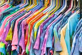 picture of racks  - side view of colorful tie - JPG