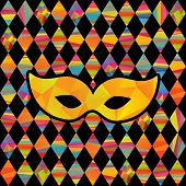 image of rhombus  - seamless pattern with colorfull rhombus  and carnival masks by different forms and color stripes - JPG