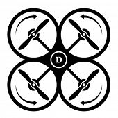 stock photo of rotor plane  - vector drone quadcopter direction of rotation black symbol - JPG