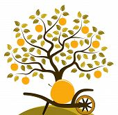 picture of hand-barrow  - vector apple tree and hand barrow with one big apple isolated on white background - JPG