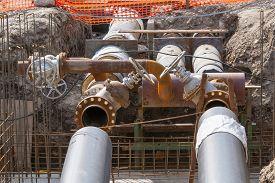 stock photo of pipeline  - Replacement of underground water pipeline  - JPG