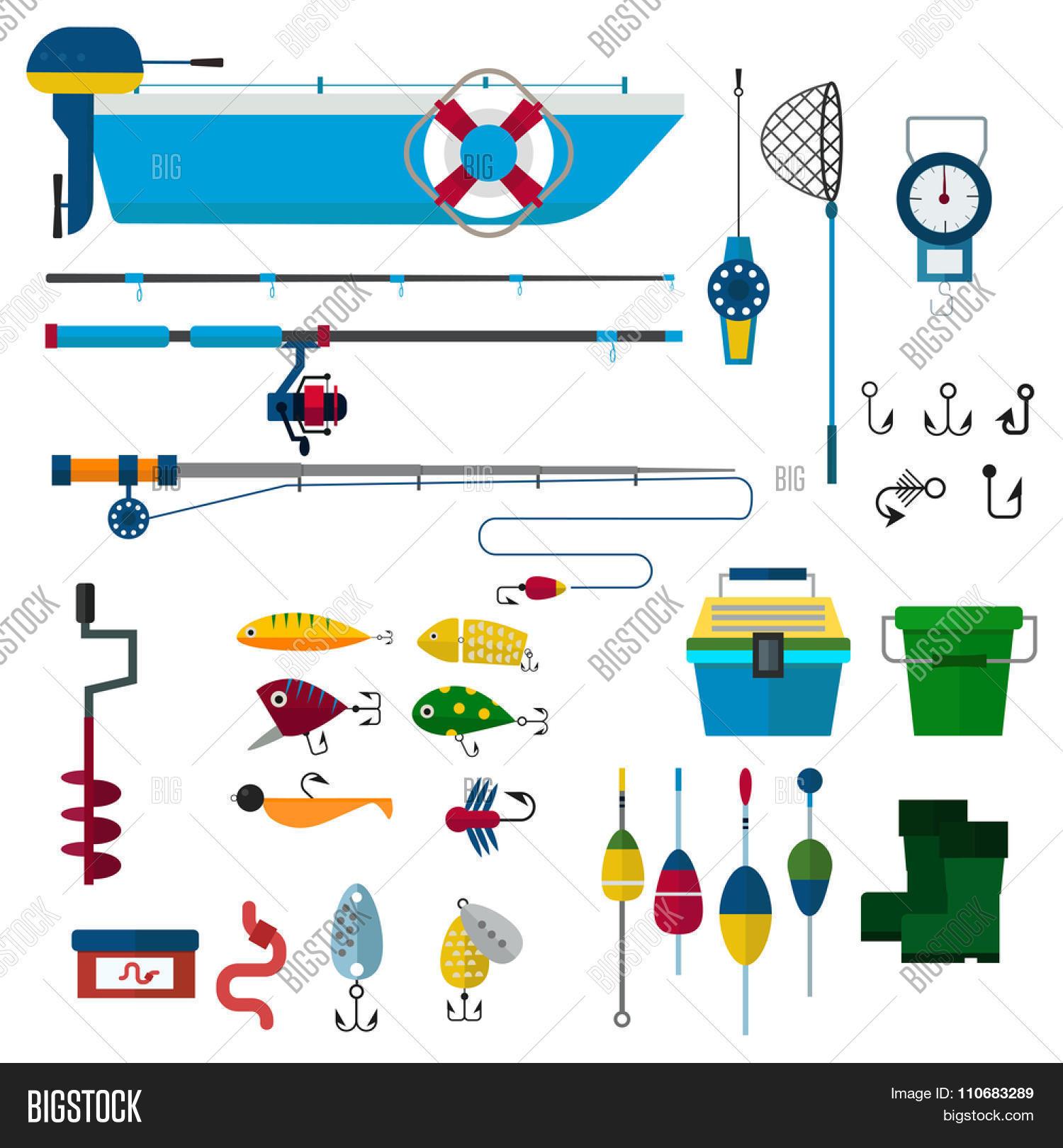 fishing vector icons illustration fishing rod hooks