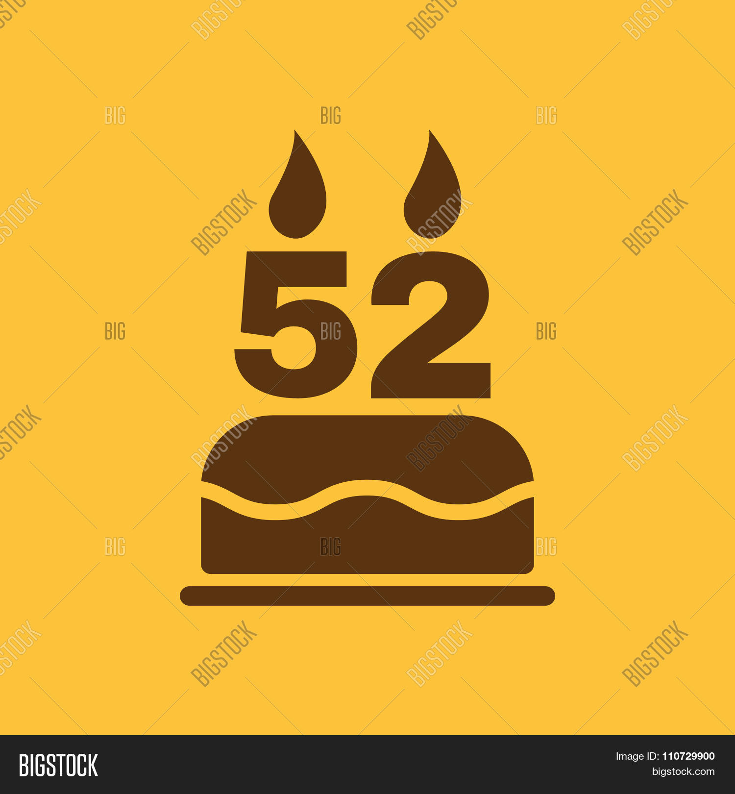 The Birthday Cake With Candles In The Form Of Number 52 Icon