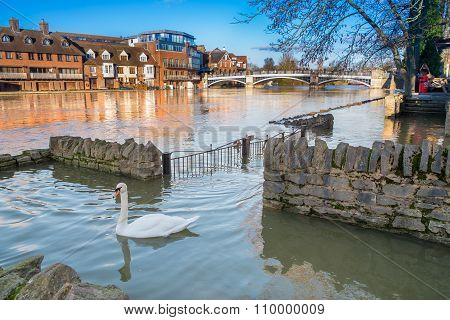 View Of Eton Bridge In The 2014 Floods.