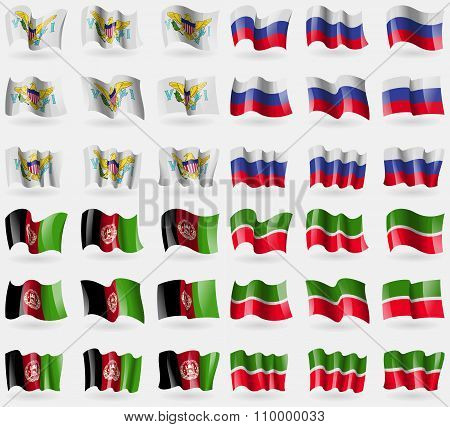 Virginislandsus, Russia, Afghanistan, Tatarstan. Set Of 36 Flags Of The Countries Of The World.