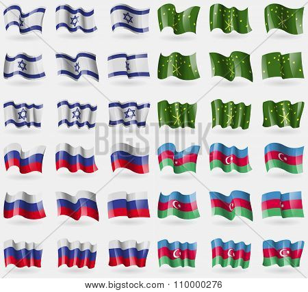 Israel, Adygea, Russia, Azerbaijan. Set Of 36 Flags Of The Countries Of The World.