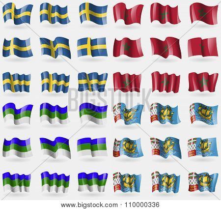 Sweden, Morocco, Komi, Saint Pierre And Miquelon. Set Of 36 Flags Of The Countries Of The World.