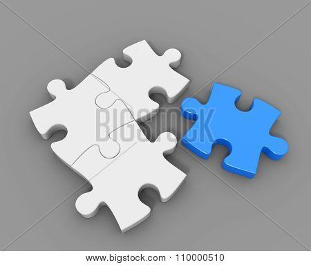 Blue 3D Puzzle Piece
