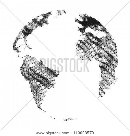 Vector Map of the World. Global Network Mesh. Business Illustration.