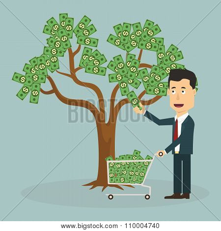 Businessman plucking money from tree - Vector