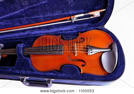 Violin And Bow In Case Closeup (8)