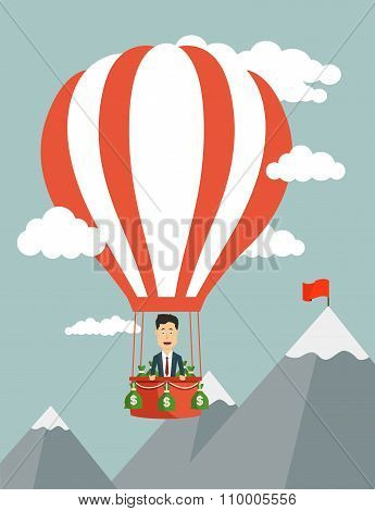 Vector flat illustration of a businessman flying on aeronautics balloon