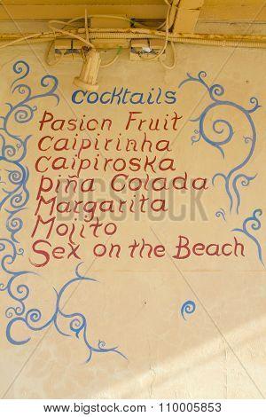 Cocktails blackboard