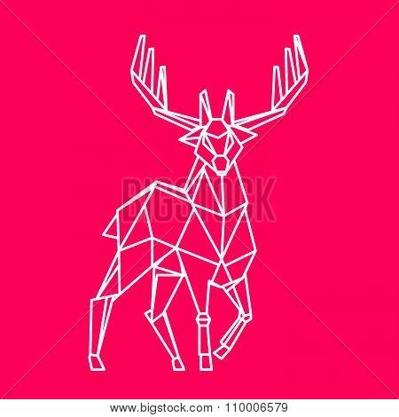 Reindeer Vector Character. Line Art Style.