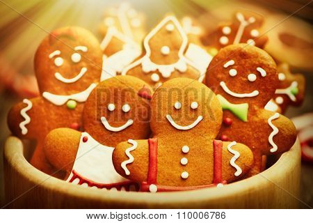 Christmas homemade gingerbread cookies on table