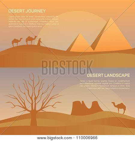 Vector illustration of landscape in Egypt desert