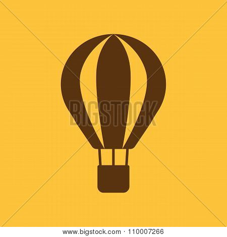 The air balloon icon. Aerostat symbol. Flat