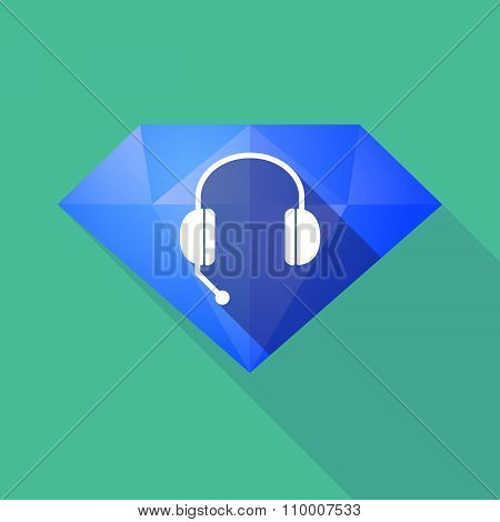 Long Shadow Diamond Icon With  A Hands Free Phone Device