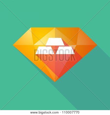 Long Shadow Diamond Icon With Three Gold Bullions
