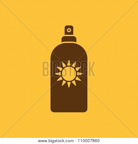 The sun cream icon. Sunscreen symbol. Flat