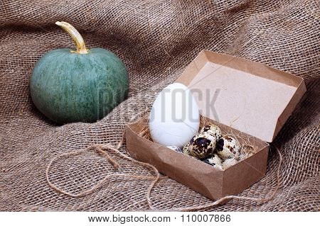 farm organic products on sackcloth
