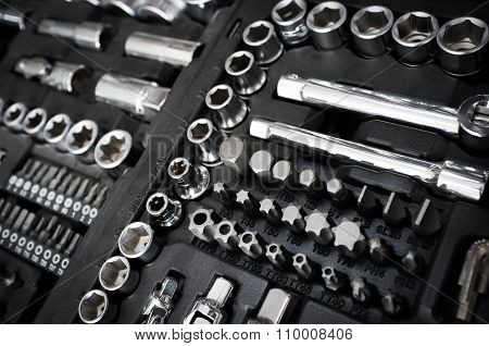 Set Of Chrome Vanadium Wrench Tools On Black Box