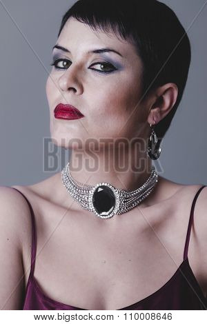 single, necklace, Sensual gesture girl dressed in the style of 20s and 30s