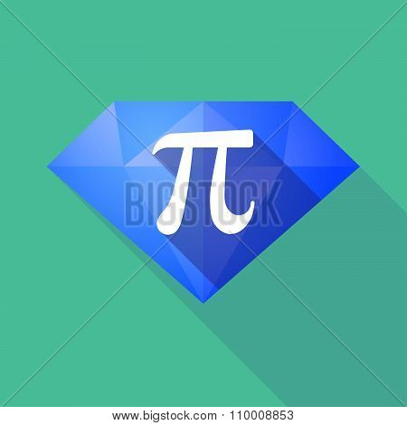 Long Shadow Diamond Icon With The Number Pi Symbol