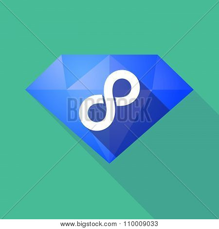 Long Shadow Diamond Icon With An Infinite Sign