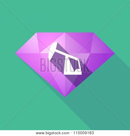 Long Shadow Diamond Icon With A Horsehead Pump