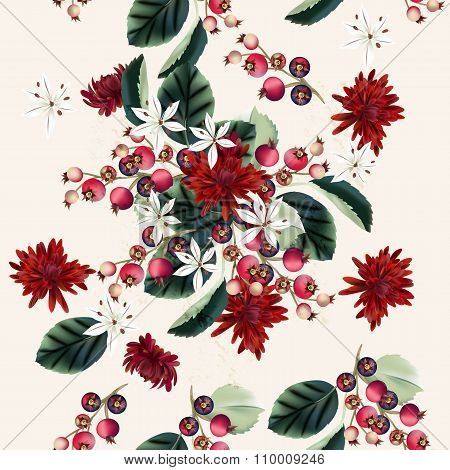 Vector Seamless Illustration With Chrysanthemums Flowers And Berries In Floral Autumn Style