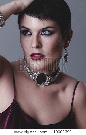 Necklace, Sensual gesture girl dressed in the style of 20s and 30s