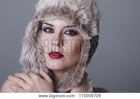 lady beautiful nude woman with furry winter hat girl cold