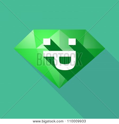 Long Shadow Diamond Icon With A Sticking Out Tongue Text Face
