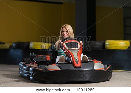 Young Woman Karting Racer