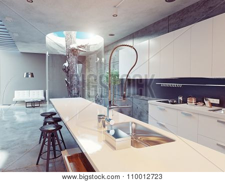 eco design of the modern kitchen interior. Pine tree indoor. 3d concept