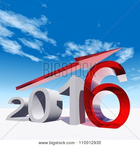 Conceptual 3D red 2016 year symbol with an arrow on blue sky background