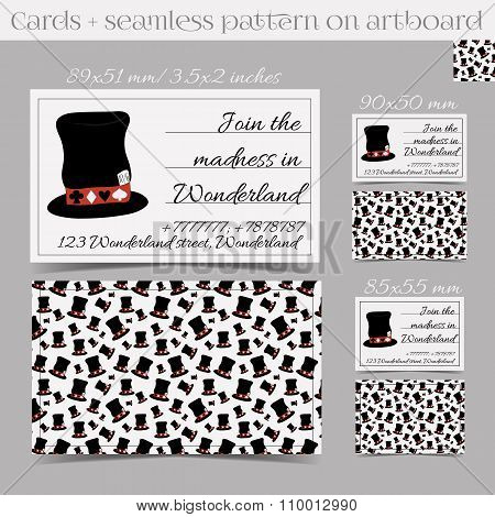 Cards Templates - Hatter Hat from Wonderland.