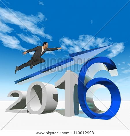 Conceptual 3D human,man or businessman flying  over an blue 2016 year symbol with an arrow on blue sky background