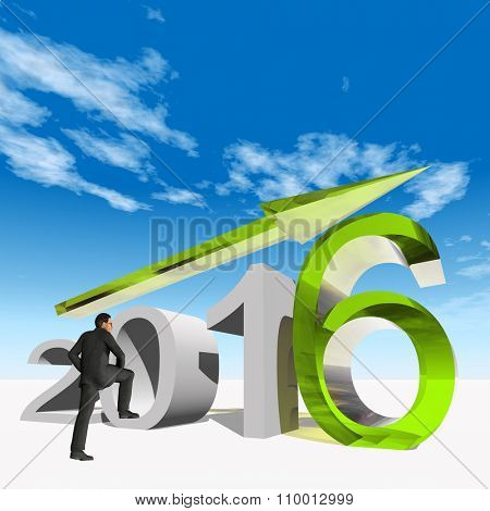 Conceptual 3D human,man or businessman standing over an green 2016 year symbol with an arrow on blue sky background