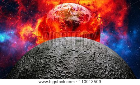 Earth burning or exploding after a global disaster, apocalyptic scenario.