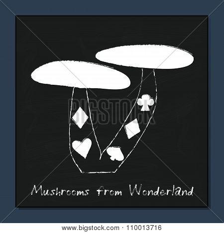 Mushrooms from Alice Adventures in Wonderland.