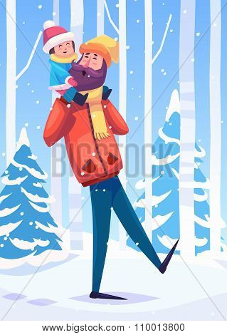 Vector illustration of a father and her daughter or son walking in the forest.