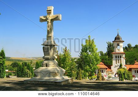 Republic Of Moldova, Curchi Monastery, Stone Cross
