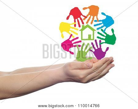 concept or conceptual green house or building sign or symbol with child or human handprints circle isolated on white background