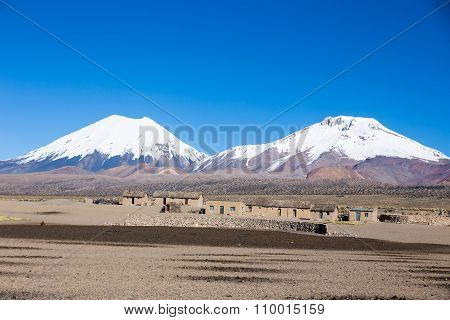 Parinacota And Pomerade Volcanos. High Andean Landscape In The Andes. Bolivia