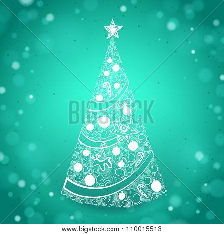 Abstract Hand Drawn Christmas Tree on Green Sparkling Background