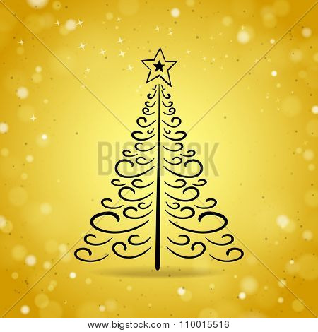 Abstract Outline Christmas Tree on Gold Brilliant Background
