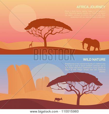 Vector illustration of landscape in savanna