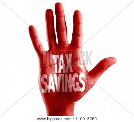 Tax Savings written on hand isolated on white background